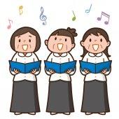 Three senior women singing together