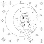 Cute girl sitting dreaming on the moon on background night starry sky Cartoon style Vector illustration isolated on white for coloring book  EPS10