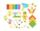 Kids creativity creation symbols vector set
