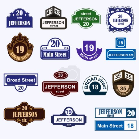 House numbers boards sign isolated
