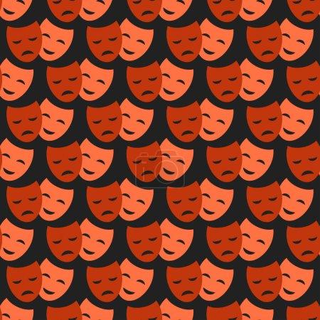 Illustration pour Comédie et tragédie masques théâtraux comédie motif sans couture. Vector théâtre humour performance visage. tragédie drame émotion mascarade carnaval costume expression . - image libre de droit