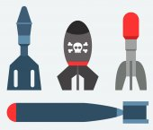 Missile rocket set in flat style isolated on background Cartoon missile icon vector illustration