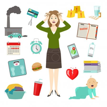 Stressed woman girl hands on head and opened mouth, headache tired female cartoon character vector illustration