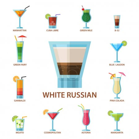 Set of alcoholic cocktails fruit cold drinks tropical cosmopolitan freshness collection and party alcohol sweet tequila vector illustration.