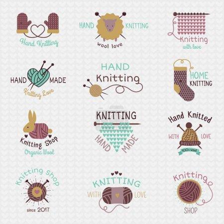 Illustration pour Aiguilles à tricoter logo vecteur laine tricot ou chaussettes en laine tricotées logotype crochet matières laineuses et illustration tricot à la main isolé sur fond blanc . - image libre de droit