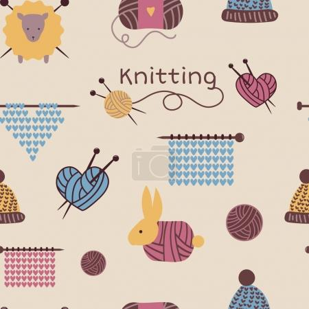 Illustration pour Aiguilles à tricoter motif sans couture vectoriel laine tricot fond ou chaussettes en laine tricotées logo crochet laine matériaux toile de fond et tricot à la main illustration papier peint . - image libre de droit