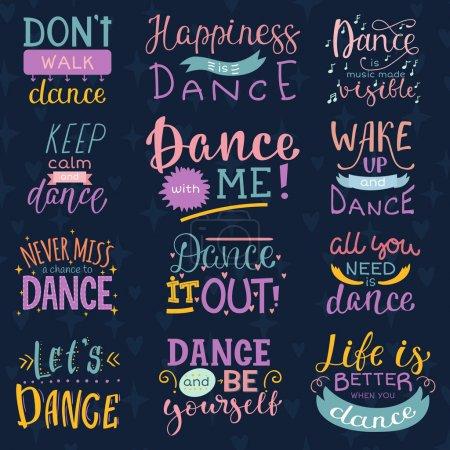 Illustration pour Danse lettrage vectoriel danse signe et danseur typographique imprimé illustration ensemble d'inspirations pour salle de danse isolé sur fond . - image libre de droit