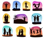 Sunset people vector silhouette of family or loving couple characters seeing sunrise illustration set of tropical card with woman man and kids on ocean beach isolated on white background
