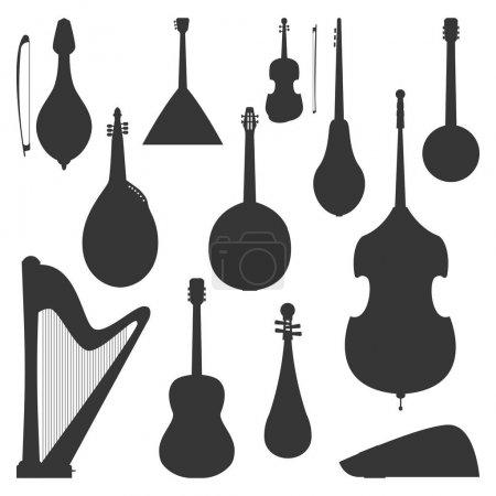 Stringed dreamed musical instruments silhouette classical orchestra art sound tool and acoustic symphony fiddle wooden equipment vector illustration