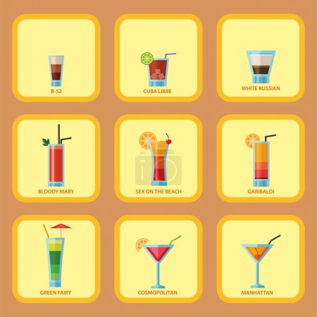 Set of alcoholic cocktails cards fruit cold drinks tropical cosmopolitan freshness party alcohol sweet tequila vector illustration.