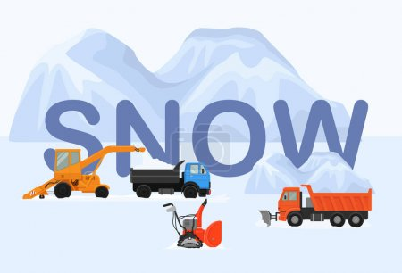 Illustration for Four different machines in winter removing snow vector illustration. Big and small two crawler snowblowers, lorry, tipper truck. White huge snow drifts background. Lettering snow. - Royalty Free Image