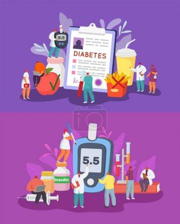 Illustration pour Diabète concept d'illustration vectorielle, diagnostic, contrôle de la glycémie, régime alimentaire. De minuscules patients diabétiques et des médecins travaillent en équipe. Glucomètre énorme, rapport médical, insuline, seringue, éprouvettes, nourriture . - image libre de droit