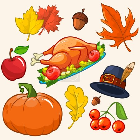 Set of colorful cartoon icons for thanksgiving day: pumpkin, autumn leaves, pilgrim hat, turkey, akorn, apple, cranberries