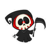 Grim reaper cartoon character isolated on a white background Halloween vector death character