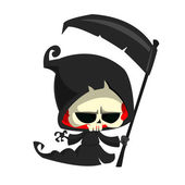 Cute cartoon grim reaper with scythe isolated on white Cute Halloween skeleton death character icon