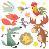 Cartoon forest animal characters Wild cartoon cute animals collections vector Big set of cartoon forest animals flat vector illustration Bunny rabbit rooster fox mouse wolf hedgehog moose elk and blue yellow bird