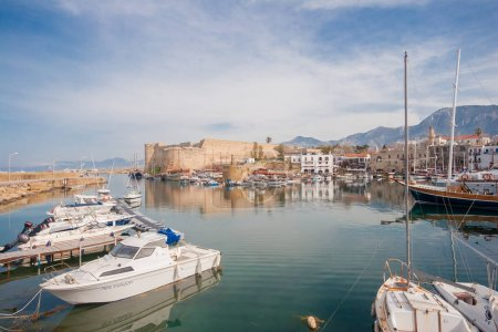 Old harbour of  Kyrenia, island of Cyprus, with boats and lighth