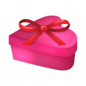Colorful cartoon illustration of heart shape gift box with bow symbol of love and Valentine's Day Vector