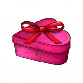 Colorful sketch style illustration of heart shape gift box with bow symbol of love and Valentine's Day Vector