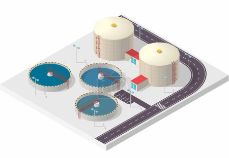 Illustration for Water treatment isometric building info graphic, big bacterium purifier factory on white background. Scientific illustration. Pictogram industrial chemistry cleaner set. Flatten isolated master vector. - Royalty Free Image