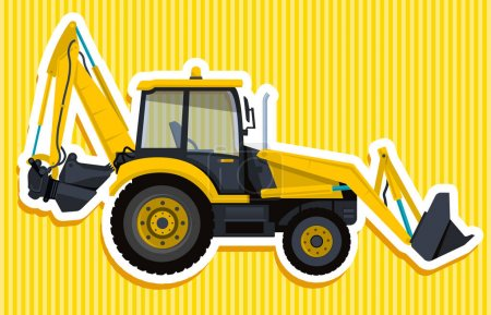 Yellow big digger builds roads with outline. Construction machinery and ground works.
