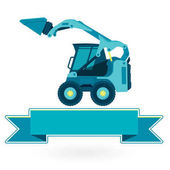 Blue small digger builds roads loads building material on white