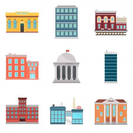 Set of city eleements color flat icons for web and mobile design