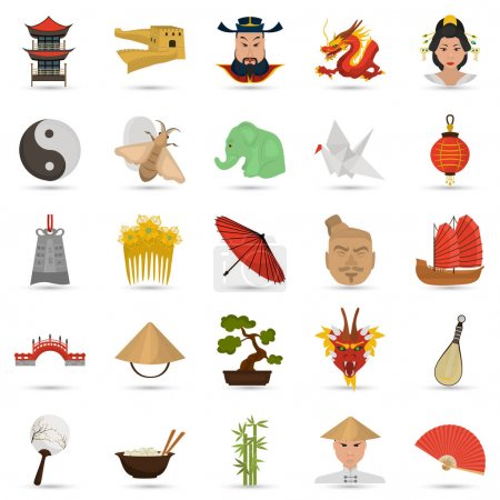 Set of color flat China icons set for web and mobile design