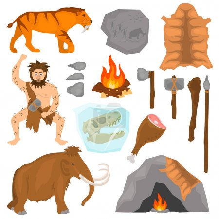 Illustration for Ice age color flat icons set - Royalty Free Image