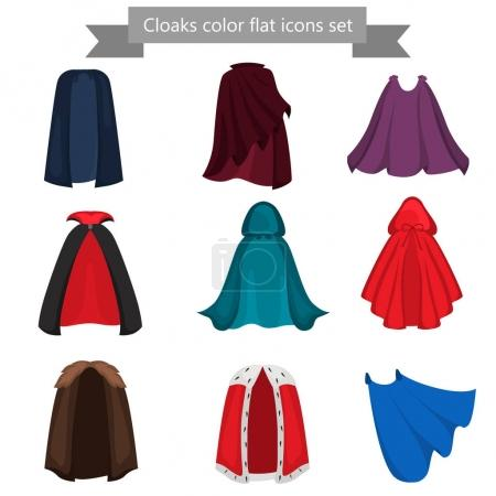 Diffeerent cloaks color flat icons set