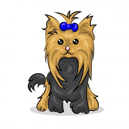 cartoon cute vector yorkshire terrier at the white background