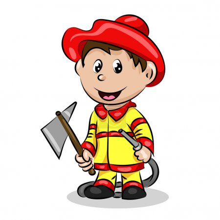 Cartoon funny fire fighter with ax and hose in uni...