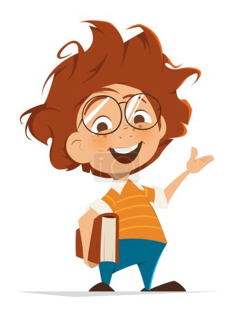 Illustration for Vector character illustration of School kid with book and glasses pointing hand - Royalty Free Image