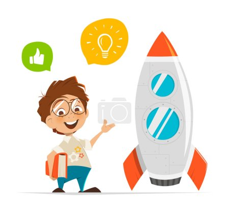 Smart kid inventor and rocket
