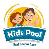 Aqua water park or swimming pool logo design