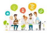 Business characters people team scene Teamwork in modern office
