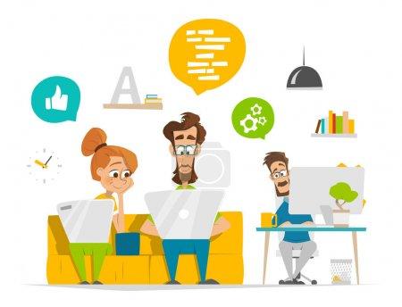 Illustration pour Illustration vectorielle d'une équipe de jeunes entrepreneurs travaillant dans un bureau contemporain moderne - image libre de droit