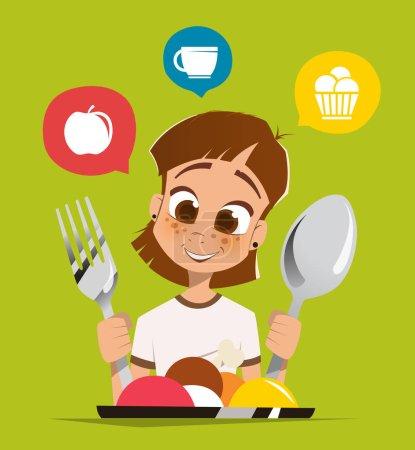 Illustration pour Joyeux sourire fille enfant tenant cuillère et fourchette manger plat de repas - image libre de droit