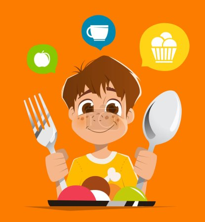 Boy kid child holding spoon and fork eating meal dish