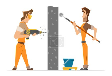 Two man worker drill and paint a wall
