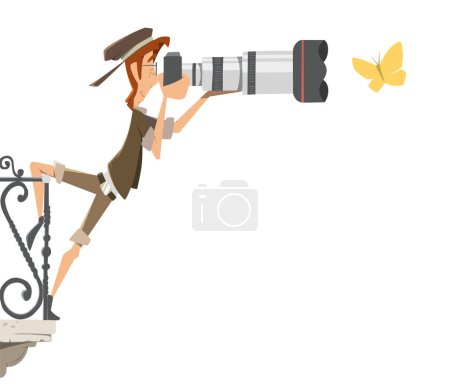 Illustration for Professional man photographer paparazzi with big camera lens standing on a balcony and shoot take pictures butterfly. Color vector illustration. - Royalty Free Image
