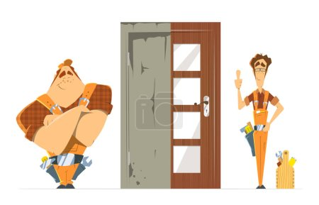 Illustration for Door installation repair unlock service. Old new door before and after concept. Two man locksmith. Color vector illustration. - Royalty Free Image