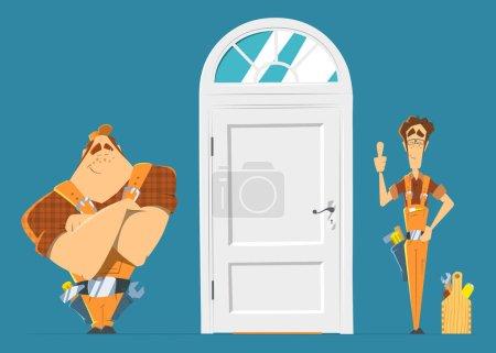 Door installation repair unlock service. Two man locksmith.