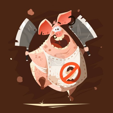 Illustration for Color vector character illustration of crazy big fat pig running with two axes t-shirt cool creative print - Royalty Free Image