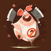 crazy big fat pig running with two axes t-shirt print