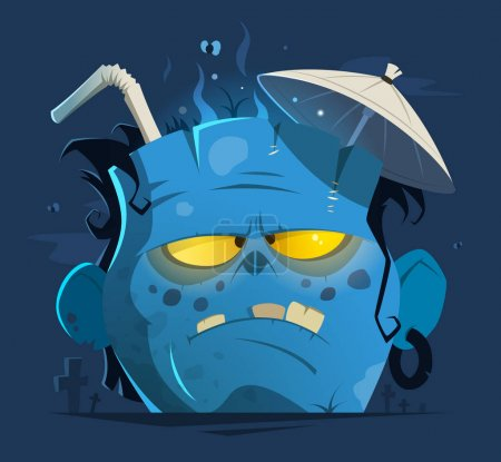 Illustration for Color vector character illustration of cut off angry zombie head - Royalty Free Image