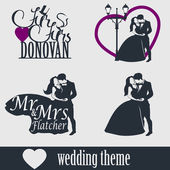 Wedding cake topper vector set