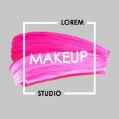 Makeup studio logo and lipstick vector smear