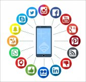 Mobile Telephone With Social Network Infographic Icons