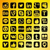 Golden Social Network Icons